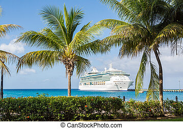 Cruise Ship Between Palm Trees - White Luxury cruise ship in...