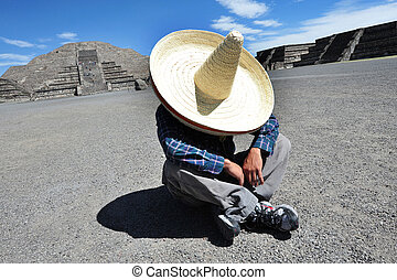 Mexican man having a siesta - TEOTIHUACAN - MARCH 24 2010:...