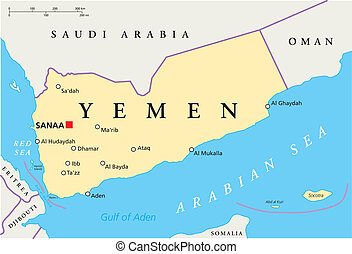 Yemen Political Map with capital Sanaa, national borders and...
