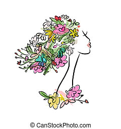 Female profile with floral hairstyle for your design