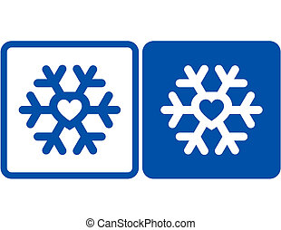 snowflake with heart - blue snowflake icon with heart...