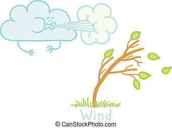 strong wind - illustration of a strong wind