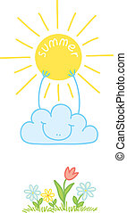 summer - illustration of a cloud to keep the sun