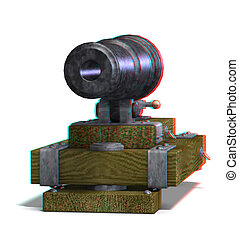 cannon - This is an anaglyph image / stereo rendering of a...