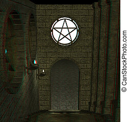 stairway to a room - This is an anaglyph image / stereo...