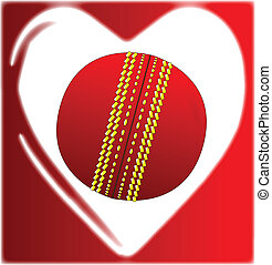 Love Cricket - A cricket ball in a traditional cartoon heart...