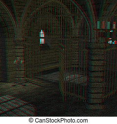 medieval prison cell - This is an anaglyph image stereo...