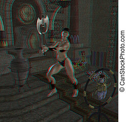 a female barbarian warrior - This is an anaglyph image /...