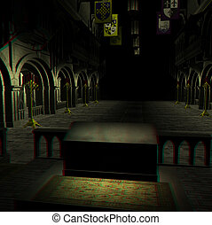 cathedral - This is an anaglyph image stereo rendering of a...