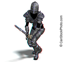 female knight with sword - This is an anaglyph image stereo...