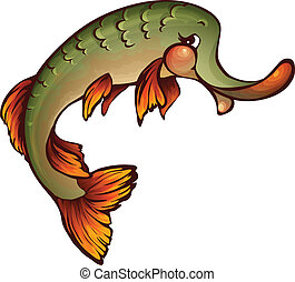 Vector illustration of pike in cartoon style on transparent...