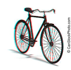 old bike - This is an anaglyph image stereo rendering of an...