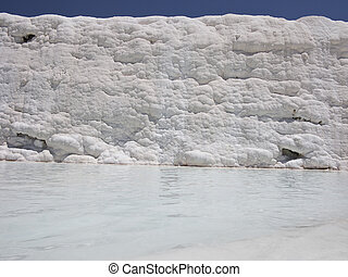 Famous white calcium travertines and pools in Pamukkale,...