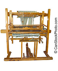 Vintage ancient wooden loom isolated over white background