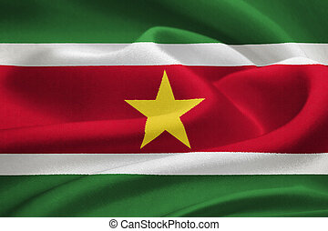 Flag of Suriname waving in the wind Silk texture pattern
