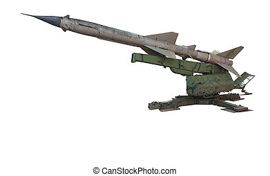 Old russian antiaircraft defense rocket launcher missiles isolat