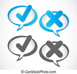 check mark Yes and No speech bubble vector background