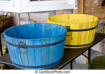 Blue and Yellow Barrel - Blue and yellow tubs made from old...