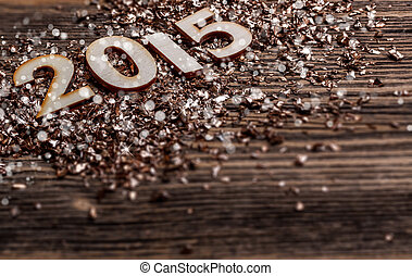 New Years concept, 2015 wooden number