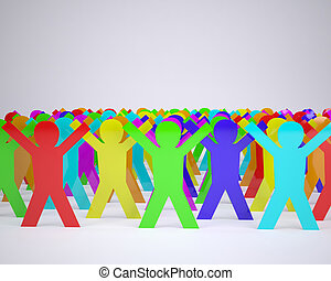 many people cartoon silhouette colored with hands in up, 3d...