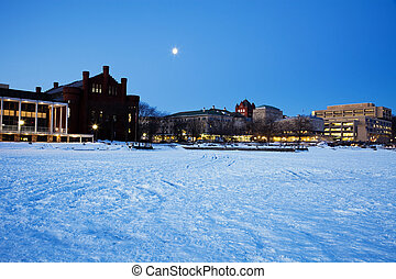 University of Wisconsin - seen from frozen Lake Mendota. -...