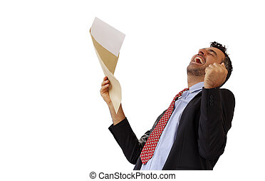Man reacting with jubilation to a letter punching the air...