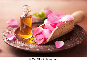 rose flower and essential oil spa and aromatherapy