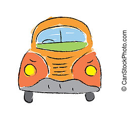beetle car, hand-drawn vector illustration on white...