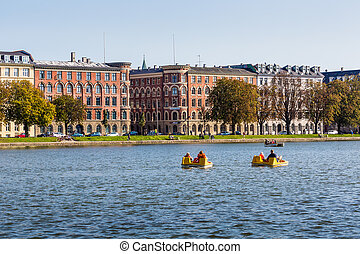Copenhagen cityscape View on Copenhagen canal from Dronning...