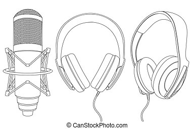 Earphones and microphone - The image of earphones and...