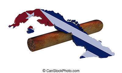 cigar and map of cuba with flag 3d illustration