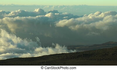 time lapse clouds view from haleakala crater,maui hawaii