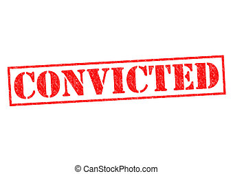 CONVICTED red Rubber Stamp over a white background