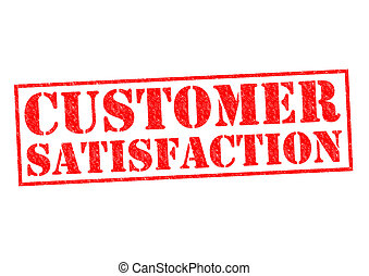 CUSTOMER SATISFACTION red Rubber Stamp over a white...