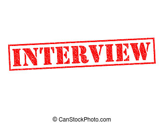 INTERVIEW red Rubber Stamp over a white background.