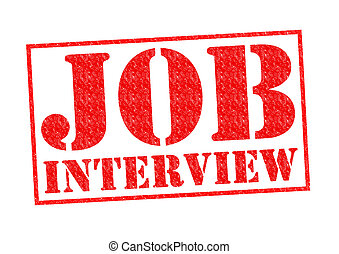 JOB INTERVIEW red Rubber Stamp over a white background.
