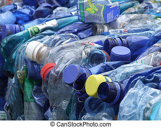 recycling - Old dark blue plastic bottles prepared for...