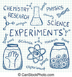 Scientific experiments on squared paper - Illustration of...