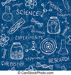 Scientific experiments seamless pattern - Illustration of...