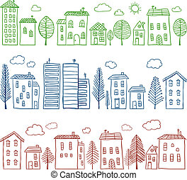 Houses doodles seamless pattern - Illustration of hand drawn...