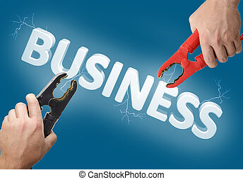 Business start - Hands holding jump start connectors with...