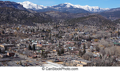 Landscape of the buildings of the downtown in Durango,...