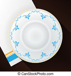White plate with a blue pattern.