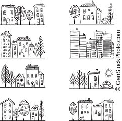 Houses doodles - Illustration of hand drawn houses, small...