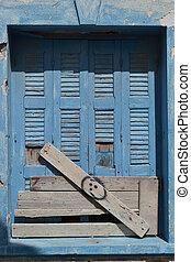 stary, okno, zrujnowany, dom, Kefalos
