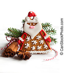 Gingerbread Santa Claus with Christmas decor