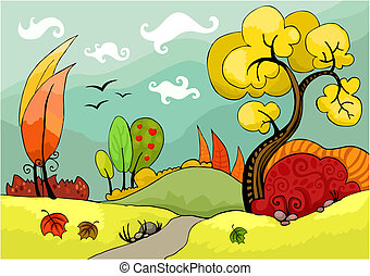 lanscape - illustration of an autumn landscape