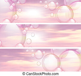 Sky and bubbles banners - An illustration of the sky and...