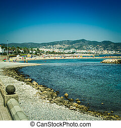 Sitges beach - View of Sitges beach in a summertime with...