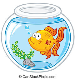 Goldfish - Vector illustration of Goldfish in a bowl